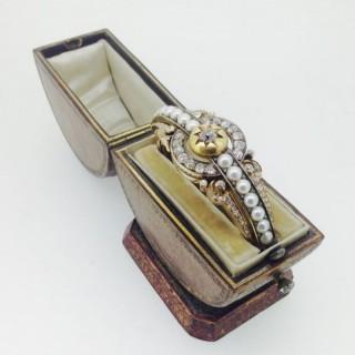 Russian Pearl and Diamond Bangle