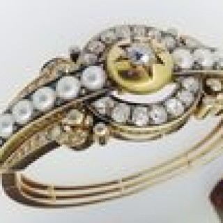 Russian Pearl and Diamond Bangle