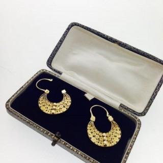 Antique High Carat Gold Earrings.