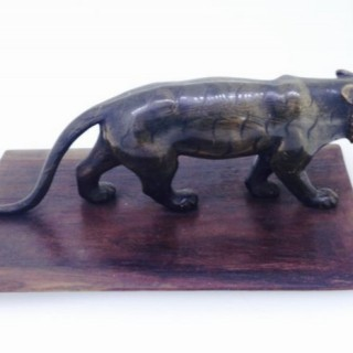 Vintage Carved Horn Black Panther.