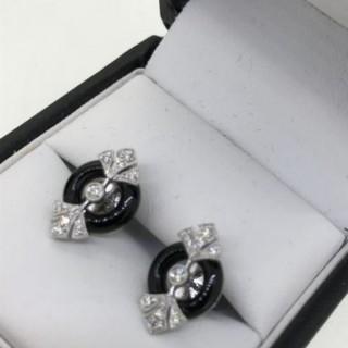 Diamond and Onyx Earrings.