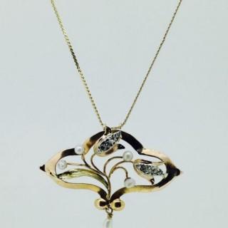 Art Nouveau French Pearl Pendant.