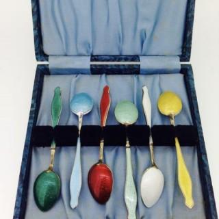 Vintage Danish Enamel Spoons.