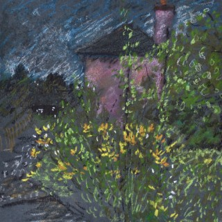 John Sergeant - Red House and Flower Garden - pastel drawing