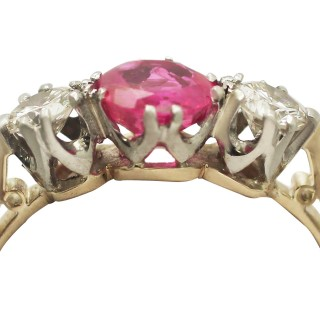 0.83 ct Ruby and 0.30 ct Diamond, 18 ct Yellow Gold Trilogy Ring - Vintage Circa 1960