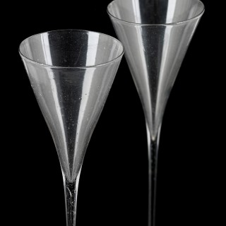 Unusual pair of tall Dutch toasting glasses