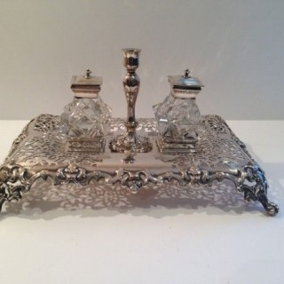 Antique Silver Plated Ink Stand.