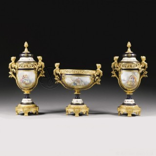 A Napoléon III Gilt-Bronze Mounted Sèvres Style Garniture Set