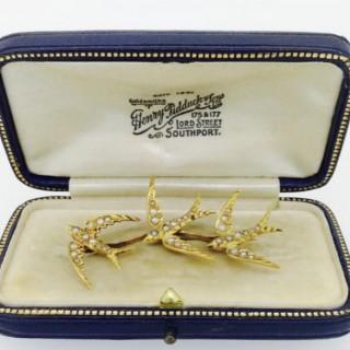 Victorian Triple Swallow Brooch.