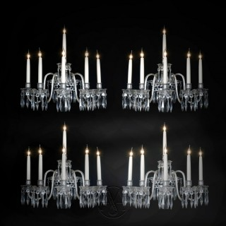 A Set of Four Cut-Crystal Six-Light  Wall Appliques