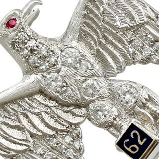0.29ct Diamond and Ruby, Platinum Regimental Brooch - Vintage Circa 1960