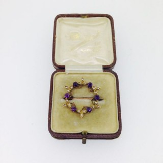 Antique Amethyst and Pearl Brooch.