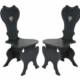 A PAIR OF PAINTED HALL CHAIRS