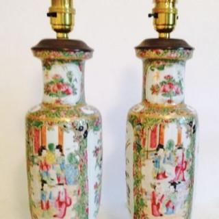 Pair of Cantonese Vase Lamps.