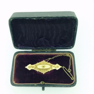 Antique Gold and Diamond Bar Brooch.