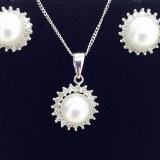 Pearl and White Sapphire Earrings and Necklace Set.