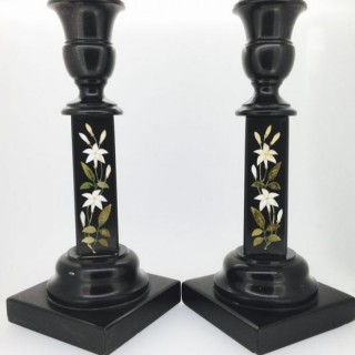 Victorian Derbyshire Pietra Dura Candlesticks.