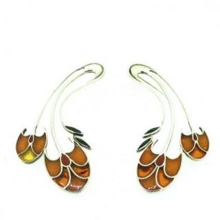 Vintage Long Drop Amber Earrings.