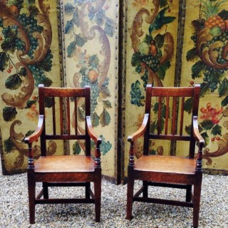 Antique Pair of Country Children's  Chairs.