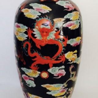 Tall Antique Japanese Vase Lamp