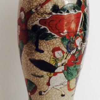 Antique Japanese Crackleware Vase lamp.