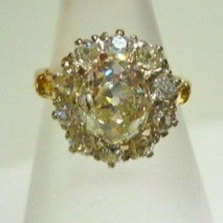 French natural Diamond Cluster Ring