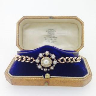 Belle Epoque Gold Diamond and Pearl Bracelet.
