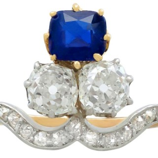 1.35 ct Sapphire and 2.06 ct Diamond, 18 ct Yellow Gold Dress Ring - Antique Circa 1910