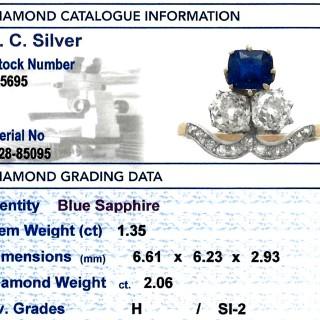 1.35 ct Sapphire and 2.06 ct Diamond, 18 ct Yellow Gold Dress Ring - Antique Circa 1910
