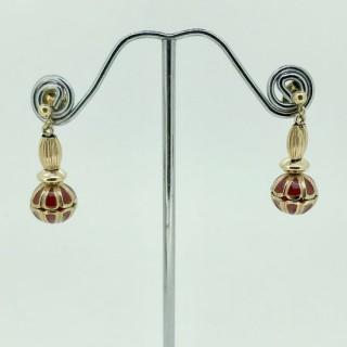 Vintage Pair of Gold and Enamel Earrings.