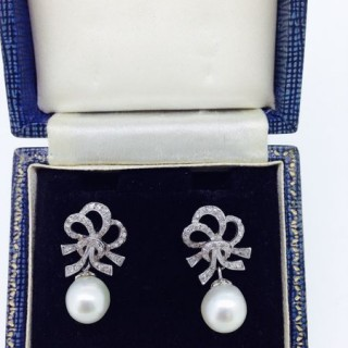 Belle Epoque Pearl and Diamond Earrings.