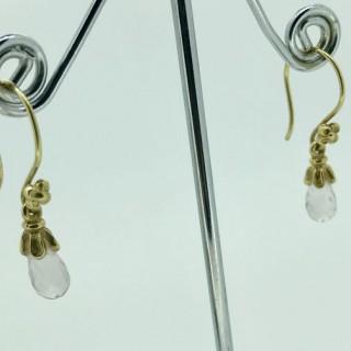 Gold and Rose Quartz Earrings.