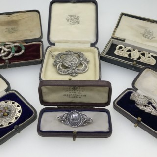 Antique Scottish Silver Brooches