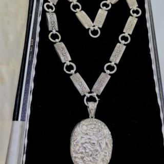 Large Indian Aspsara Locket and Silver Collar.