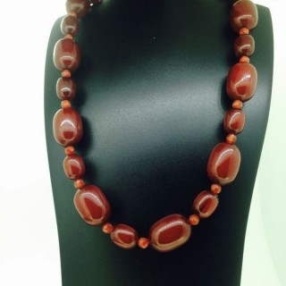 Amber and Carnelian Necklace