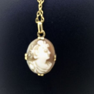 Vintage Cameo Pendant and Gold Chain