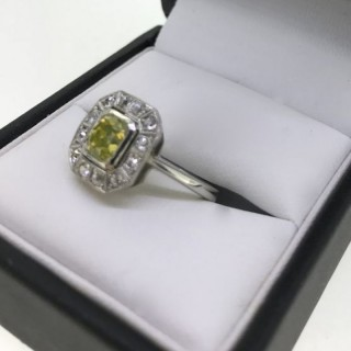 Rare Natural Yellow Diamond Ring