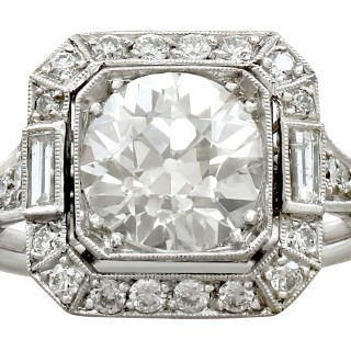 2.89ct Diamond and Platinum Engagement Ring - Art Deco Style - Antique and Contemporary