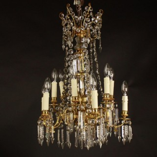 19th Century 12-Light Gilt Bronze Chandelier