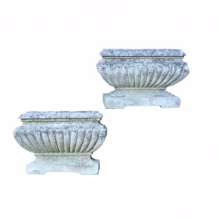 Pair Of Antique Gadrooned Limestone Garden Troughs / Planters