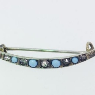 Antique Silver Crescent Brooch.