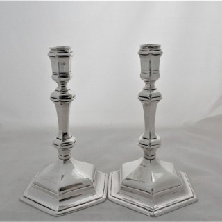 Lovely quality pair cast George I Britannia silver candlesticks London 1717 Robert Cooper