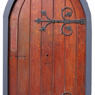 Antique Arched Oak Door With Painted Pine Frame