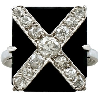 Black Onyx and 0.85ct Diamond, 18ct White Gold and Platinum Dress Ring - Antique Circa 1930