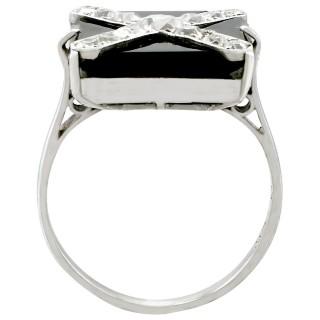 Black Onyx and 0.85ct Diamond, 18ct White Gold and Platinum Dress Ring - Antique Circa 1930