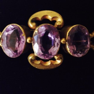 Antique Amethyst and Gold Brooch.