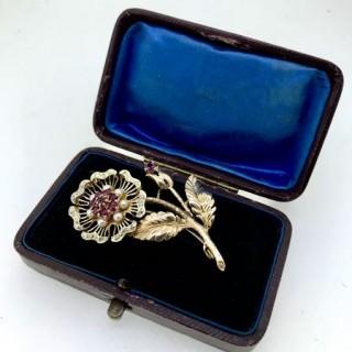 Vintage Ruby and Diamond Brooch