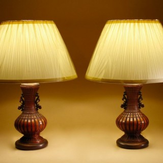 Oriental Woven Bamboo Pair Of table lamps, circa 1940/60