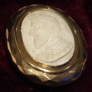 Antique White Lava Cameo Brooch.