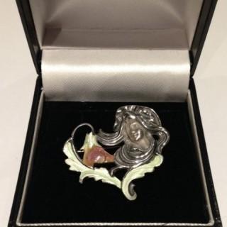 Art Nouveau Style Silver and Enamel Brooch.